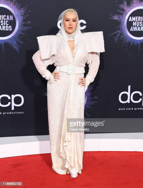 Christina Aguilera arrives at the 2019 American Music Awards at Microsoft Theater on November 24 2019 in Los Angeles California
