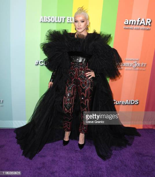 Christina Aguilera arrives at the amfAR Gala Los Angeles at Milk Studios on October 10, 2019 in Los Angeles, California.