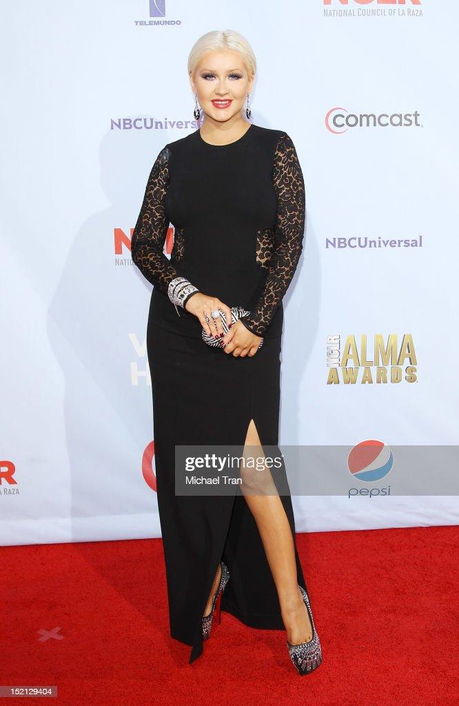 Christina Aguilera arrives at the NCLR 2012 ALMA Awards held at Pasadena Civic Auditorium on September 16, 2012 in Pasadena, California.