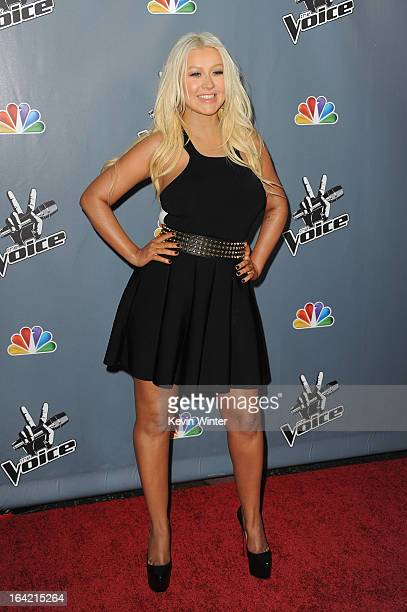Christina Aguilera arrives at the screening of NBC's 'The Voice' Season 4 at TCL Chinese Theatre on March 20 2013 in Hollywood California