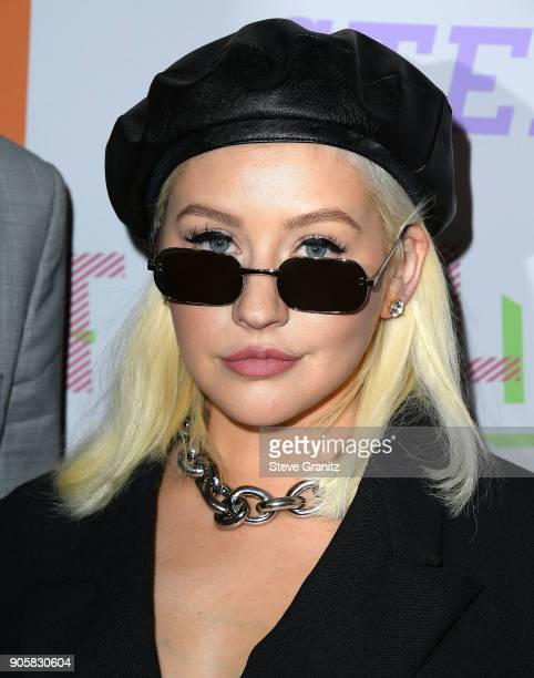 Christina Aguilera arrives at the Stella McCartney's Autumn 2018 Collection Launch on January 16 2018 in Los Angeles California