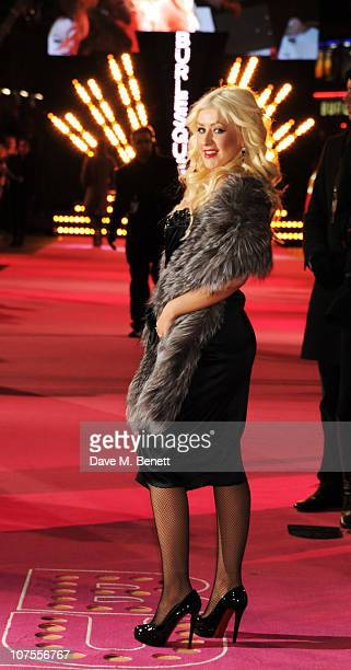 Christina Aguilera arrives at the UK film premiere of 'Burlesque' at the Empire Cinema Leicester Square on December 13 2010 in London England