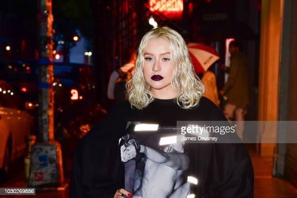 Christina Aguilera arrives to Poisson Rouge on September 9 2018 in New York City