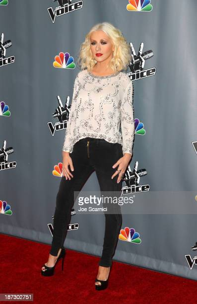 Christina Aguilera arrives to the The Voice Season 5 Top 12 Event at Universal Studios Hollywood on November 7 2013 in Universal City California