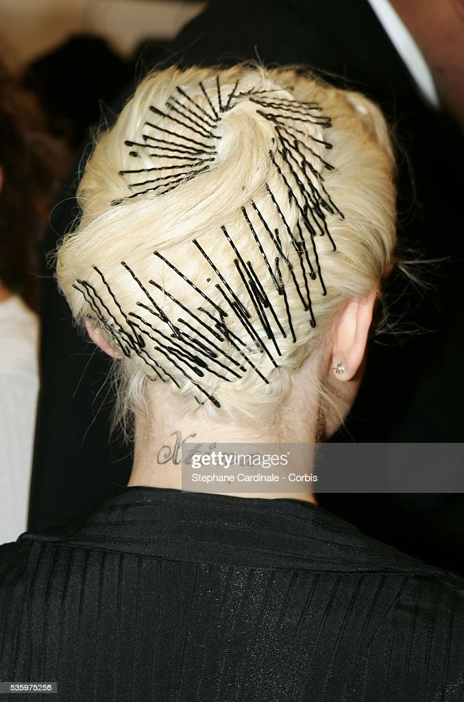 Christina Aguilera (hair detail) attending the Jean-Paul Gaultier 'Haute Couture' 2005-2006 Fall-Winter fashion collection.