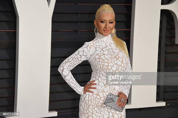 Christina Aguilera attends 2015 Vanity Fair Oscar Party Hosted By Graydon Carter at Wallis Annenberg Center for the Performing Arts on February 22...