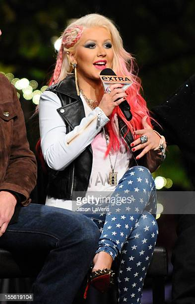 """Christina Aguilera attends a taping of """"Extra"""" at The Grove on November 5, 2012 in Los Angeles, California."""