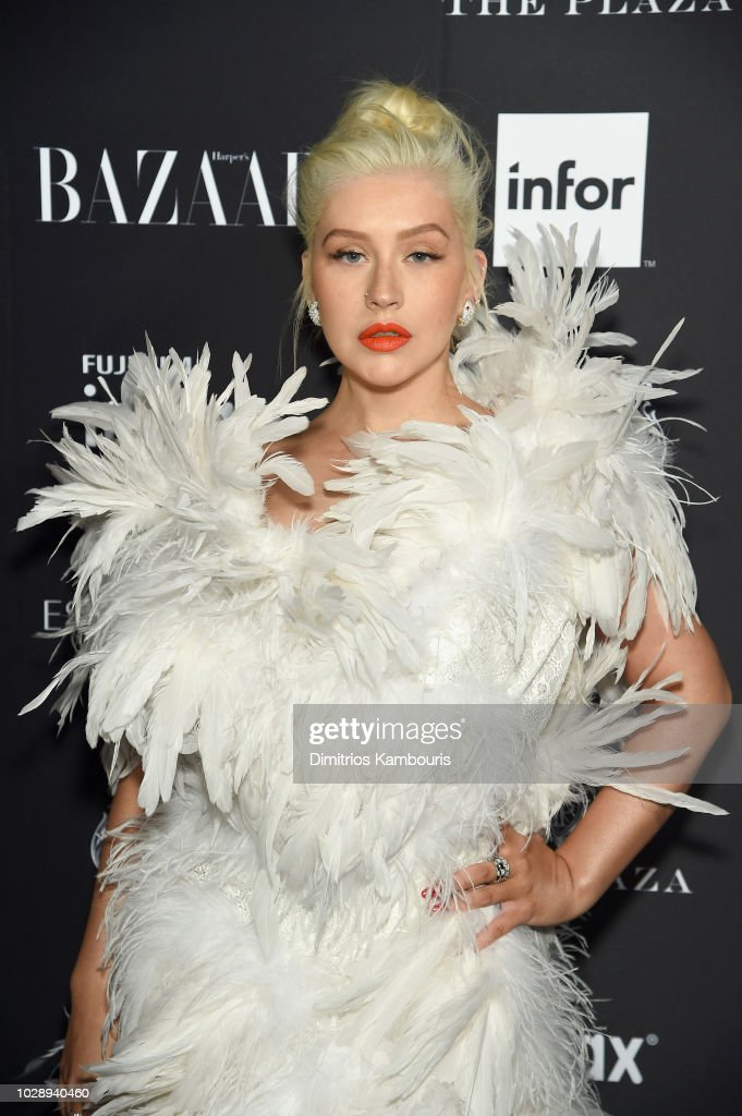 Christina Aguilera attends as Harper's BAZAAR Celebrates 'ICONS By Carine Roitfeld' at the Plaza Hotel on September 7, 2018 in New York City.