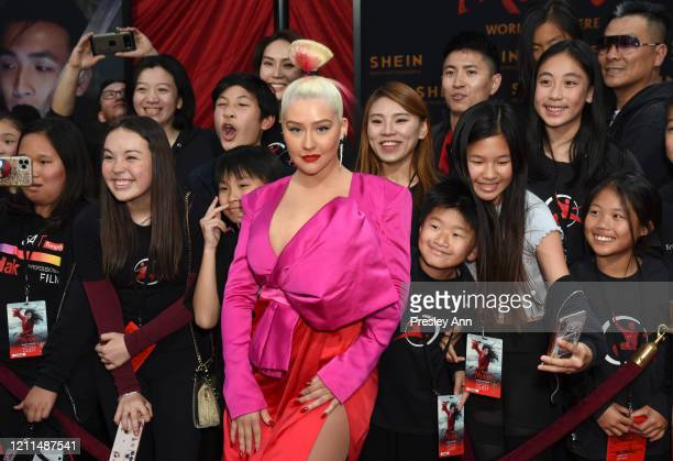 "Christina Aguilera attends Disney's ""Mulan"" World Premiere - Red Carpet - Fan Pen at Dolby Theatre on March 09, 2020 in Hollywood, California."