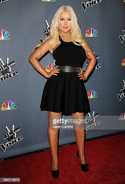 Christina Aguilera attends NBC's 'The Voice' season 4 premiere at TCL Chinese Theatre on March 20 2013 in Hollywood California