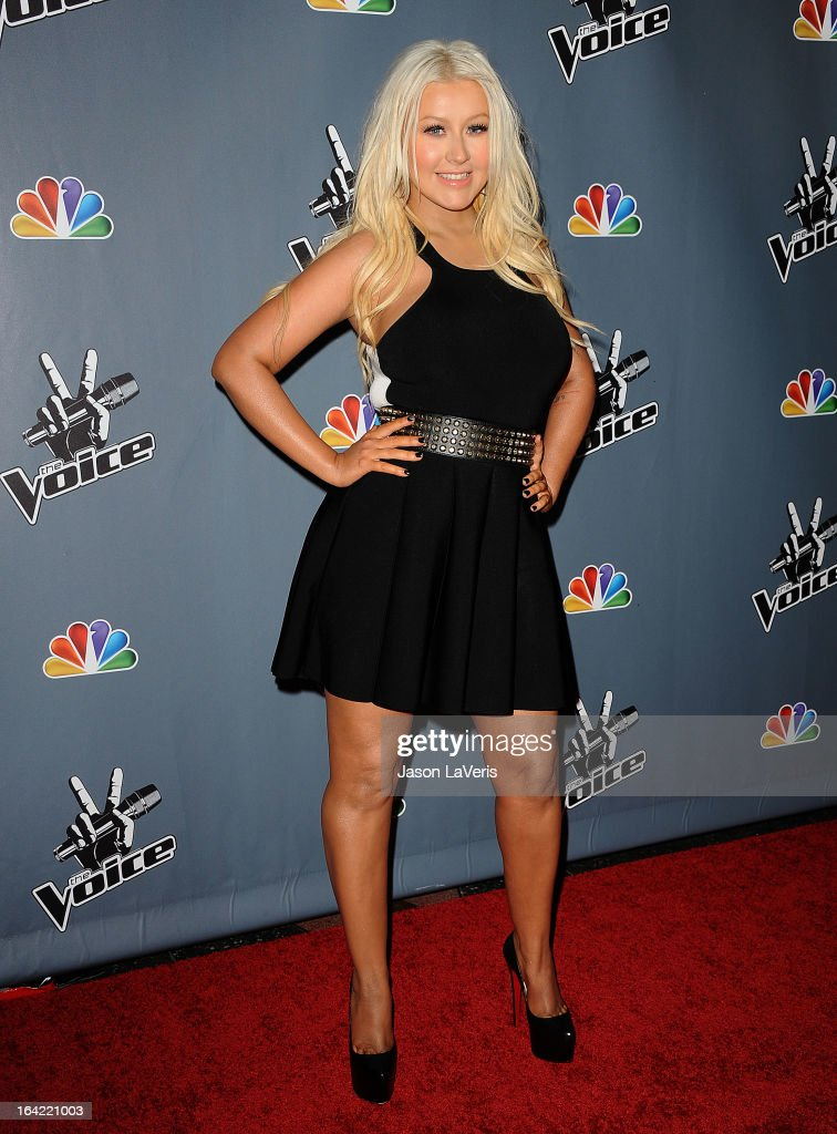 Christina Aguilera attends NBC's 'The Voice' season 4 premiere at TCL Chinese Theatre on March 20, 2013 in Hollywood, California.