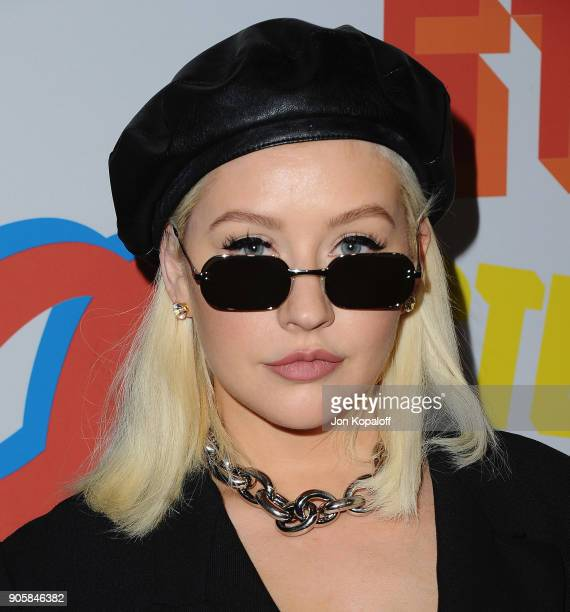Christina Aguilera attends Stella McCartney's Autumn 2018 Collection Launch on January 16 2018 in Los Angeles California
