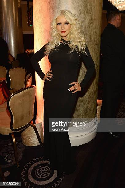 Christina Aguilera attends the 2016 PreGRAMMY Gala and Salute to Industry Icons honoring Irving Azoff at The Beverly Hilton Hotel on February 14 2016...