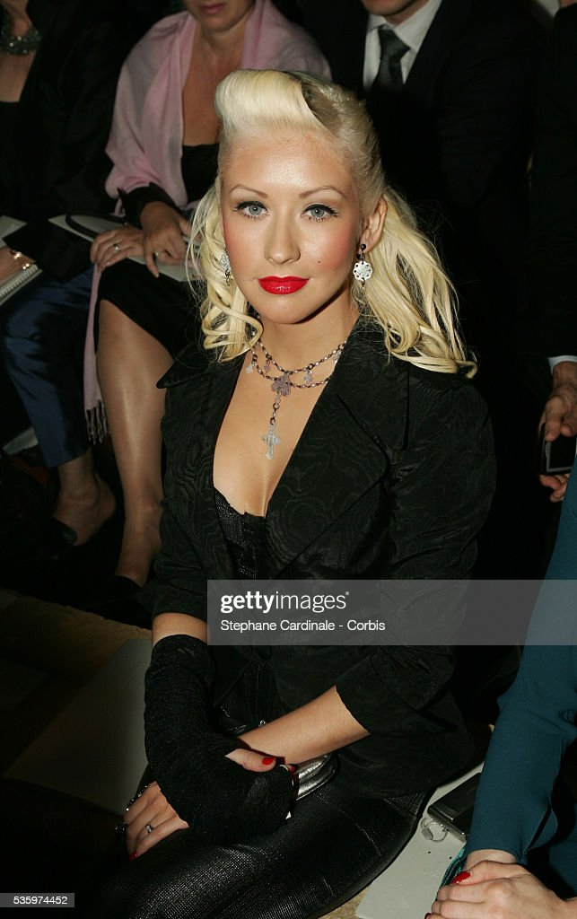 Christina Aguilera attends the Christian Dior 2005-2006 'Haute Couture' Fall/Winter fashion collection.