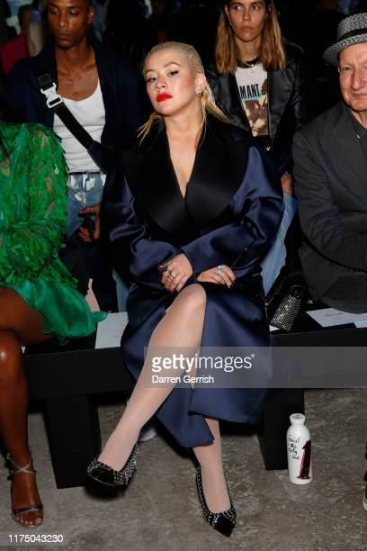 Christina Aguilera attends the Christopher Kane show during London Fashion Week September 2019 on September 16 2019 in London England