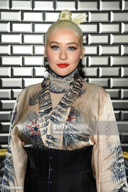 Christina Aguilera attends the Jean Paul Gaultier Haute Couture Fall/Winter 2019 2020 show as part of Paris Fashion Week on July 03 2019 in Paris...