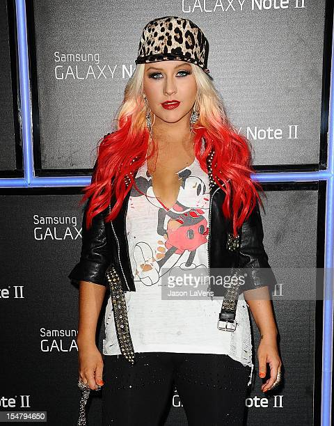 Christina Aguilera attends the launch of the Samsung Galaxy Note II on October 25 2012 in Beverly Hills California