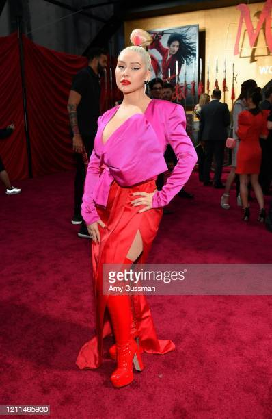 Christina Aguilera attends the premiere of Disney's Mulan at Dolby Theatre on March 09 2020 in Hollywood California