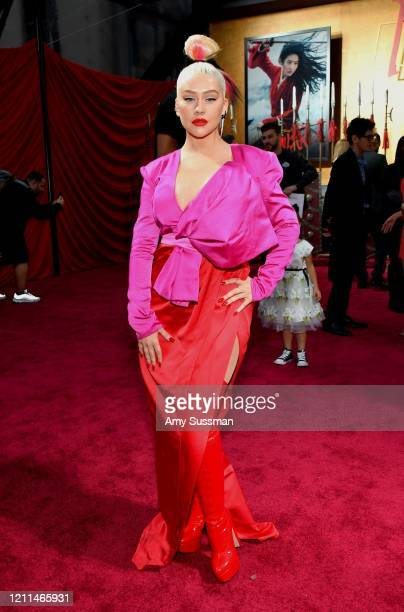 "Christina Aguilera attends the premiere of Disney's ""Mulan"" at Dolby Theatre on March 09, 2020 in Hollywood, California."