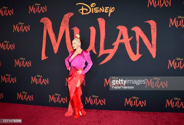 "Christina Aguilera attends the Premiere Of Disney's ""Mulan"" on March 09, 2020 in Los Angeles, California."