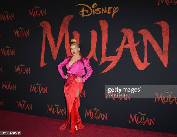 Christina Aguilera attends the premiere of Disney's Mulan on March 09 2020 in Hollywood California