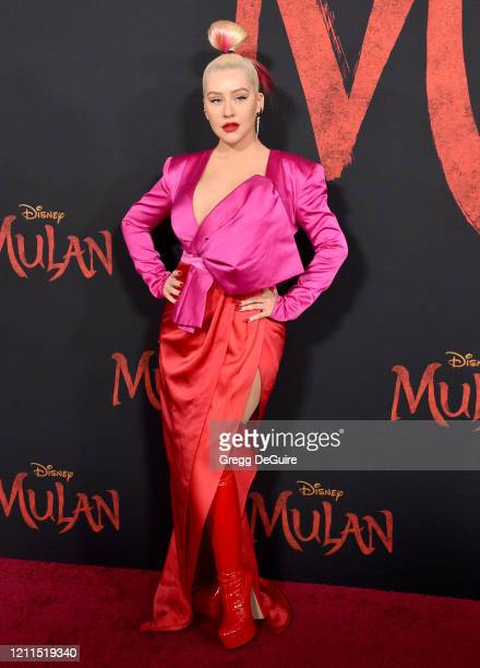 "Christina Aguilera attends the Premiere Of Disney's ""Mulan"" on March 09, 2020 in Hollywood, California."