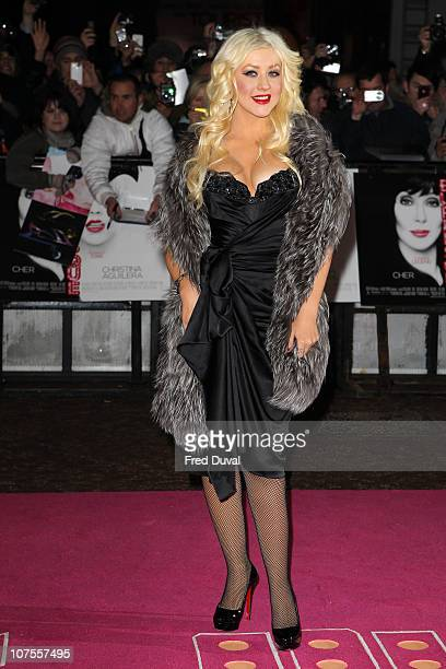 Christina Aguilera attends the UK premiere of 'Burlesque' at Empire Leicester Square on December 13, 2010 in London, England.