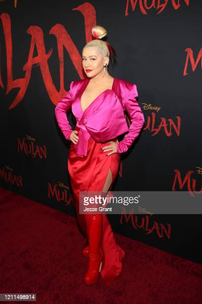 Christina Aguilera attends the World Premiere of Disney's 'MULAN' at the Dolby Theatre on March 09, 2020 in Hollywood, California.