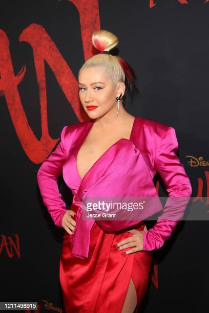 Christina Aguilera attends the World Premiere of Disney's 'MULAN' at the Dolby Theatre on March 09 2020 in Hollywood California