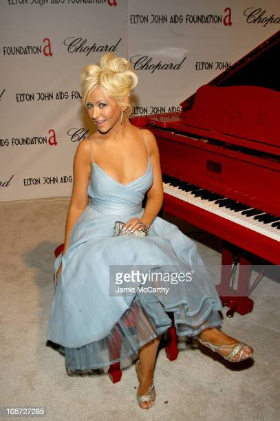 Christina Aguilera during 13th Annual Elton John AIDS Foundation Oscar Party Co-hosted by Chopard - Inside at Pacific Design Center in West...