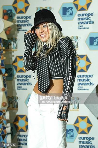 Christina Aguilera during 2002 MTV European Music Awards Press Room at Palau Sant Jordi in Barcelona Spain