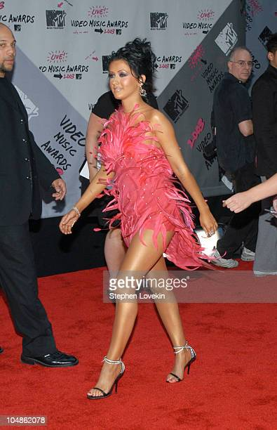 Christina Aguilera during 2003 MTV Video Music Awards Arrivals at Radio City Music Hall in New York City New York United States