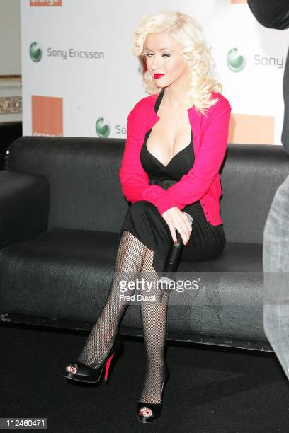 Christina Aguilera during Christina Aguilera Launches Sony Ericsson and Orange Sponsorship Deal at Mandarin Hotel in London, United Kingdom.