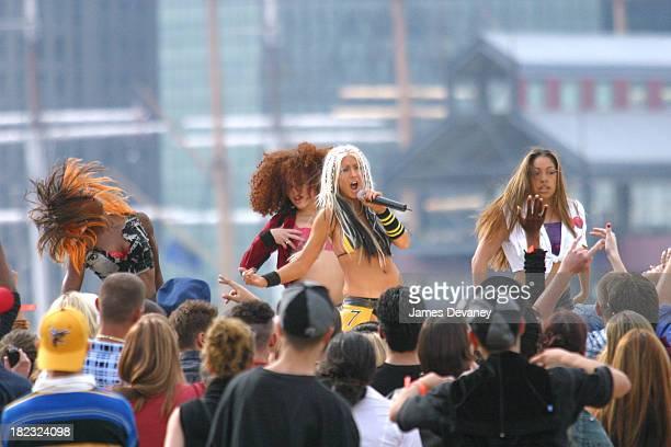 Christina Aguilera during Christina Aguilera Performs at the Brooklyn Bridge at Empire Fulton State Park in Brooklyn New York United States
