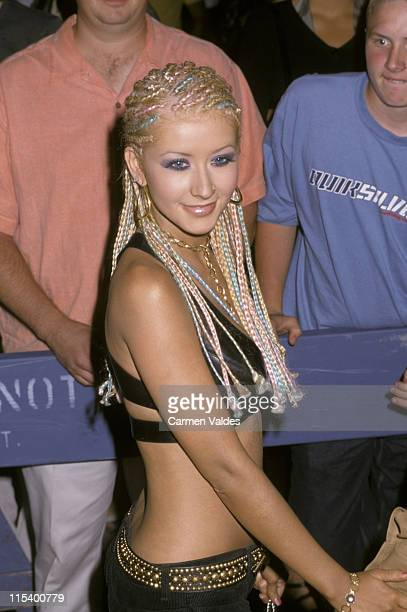 Christina Aguilera during Jennifer Lopez and Stuff Magazine MTV Video Music Awards Party at Man Ray in New York City New York United States