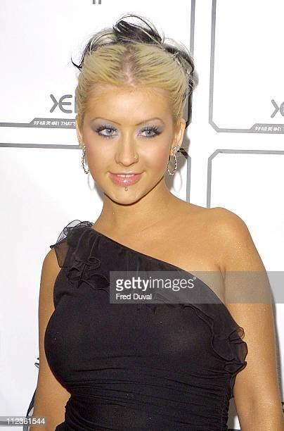 Christina Aguilera during London Fashion Week 2003 Xelibri Opening Night Party at Billingsgate Market in London Great Britain