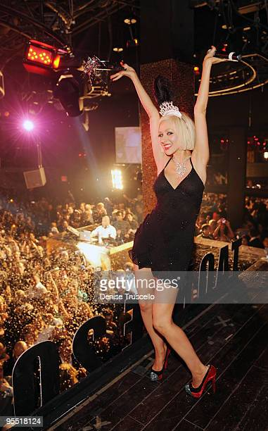COVERAGE*** Christina Aguilera Hosts New Year's Eve at TAO Nightclub at the Venetian on December 31 2009 in Las Vegas Nevada