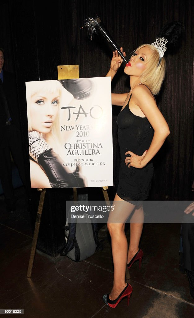 Christina Aguilera hosts New Year's Eve at TAO Nightclub at the Venetian on December 31, 2009 in Las Vegas, Nevada.