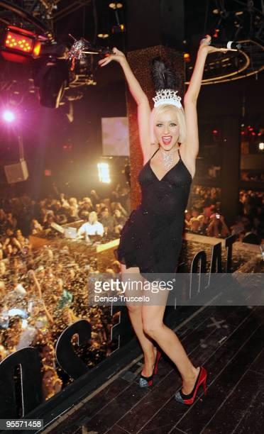 Christina Aguilera Hosts New Year's Eve at TAO Nightclub at the Venetian on December 31, 2009 in Las Vegas, Nevada.