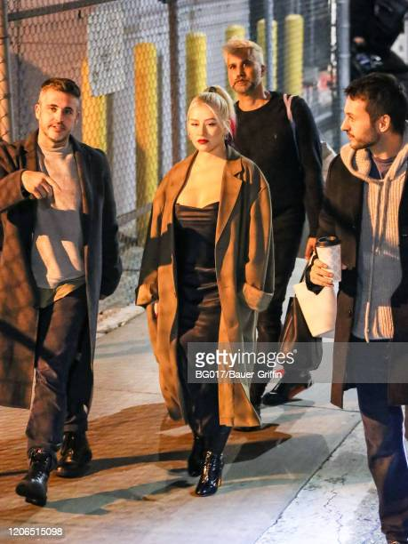 Christina Aguilera is seen arriving at 'Jimmy Kimmel Live' Show on March 10, 2020 in Los Angeles, California.