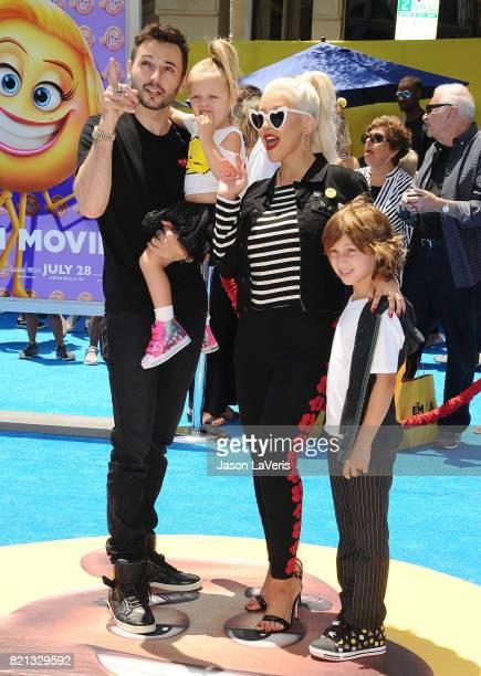 Christina Aguilera Matthew Rutler Max Liron Bratman and Summer Rain Rutler attend the premiere of 'The Emoji Movie' at Regency Village Theatre on...