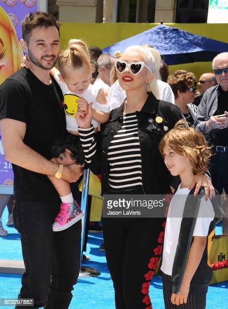 Christina Aguilera Matthew Rutler Max Liron Bratman and Summer Rain Rutler attend the premiere of The Emoji Movie at Regency Village Theatre on July...