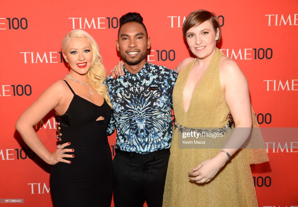 Christina Aguilera, Miguel and Lena Dunham attend TIME 100 Gala, TIME'S 100 Most Influential People In The World at Jazz at Lincoln Center on April 23, 2013 in New York City.