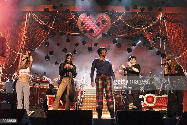 Christina Aguilera Mya Patti Labelle Pink and Lil Kim' during rehearsals for the 44th Annual Grammy Awards at The Staples Center in Los Angeles CA...