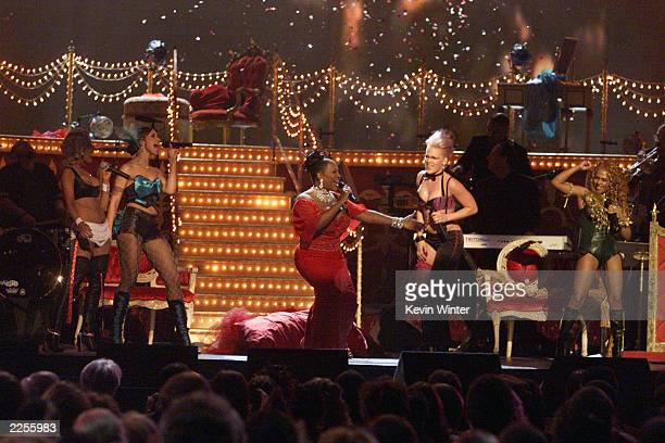 Christina Aguilera Mya Patti Labelle Pink Lil' Kim performing Lady Marmalade at the 44th Annual Grammy Awards at the Staples Center in Los Angeles CA...