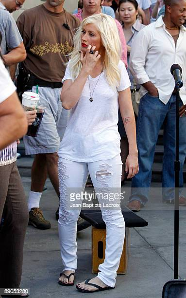 Christina Aguilera on location for a music video in Hollywood on July 15 2009 in Los Angeles California