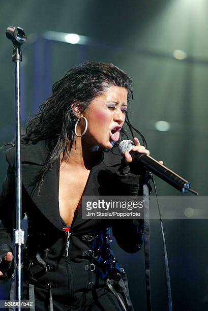 Christina Aguilera performing on stage during the Capital Radio Request Show at Wembley Arena in London on the 2nd November, 2003.