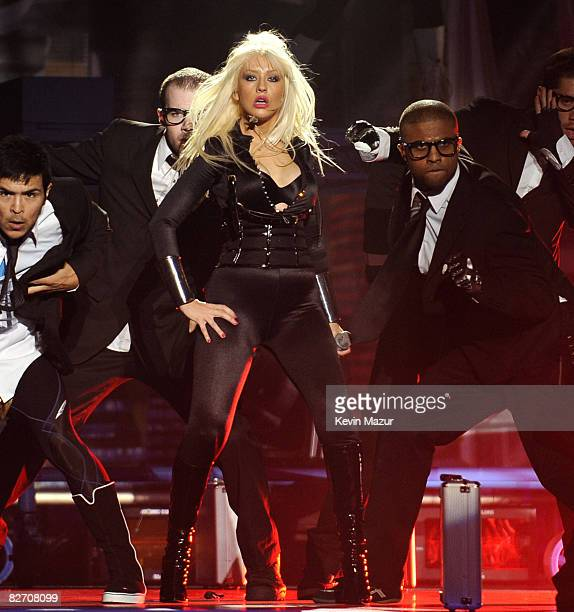 Christina Aguilera performs at the 2008 MTV Video Music Awards at Paramount Pictures Studios on September 7 2008 in Los Angeles California
