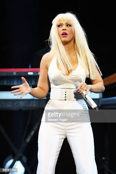 Christina Aguilera performs at the Africa Rising Festival at the Royal Albert Hall on October 14 2008 in London England
