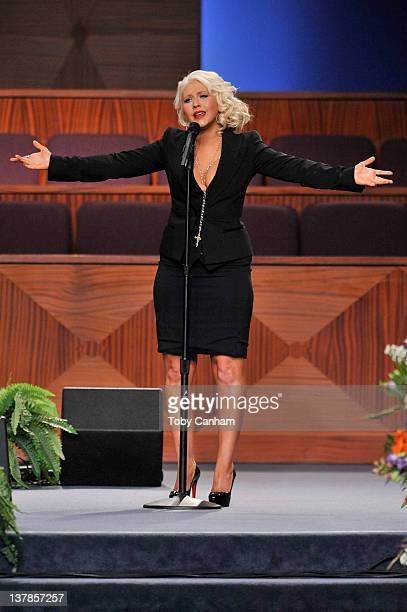 Christina Aguilera performs at the funeral of singer Etta James in the City Of Refuge Church on January 28 2012 in Gardena California